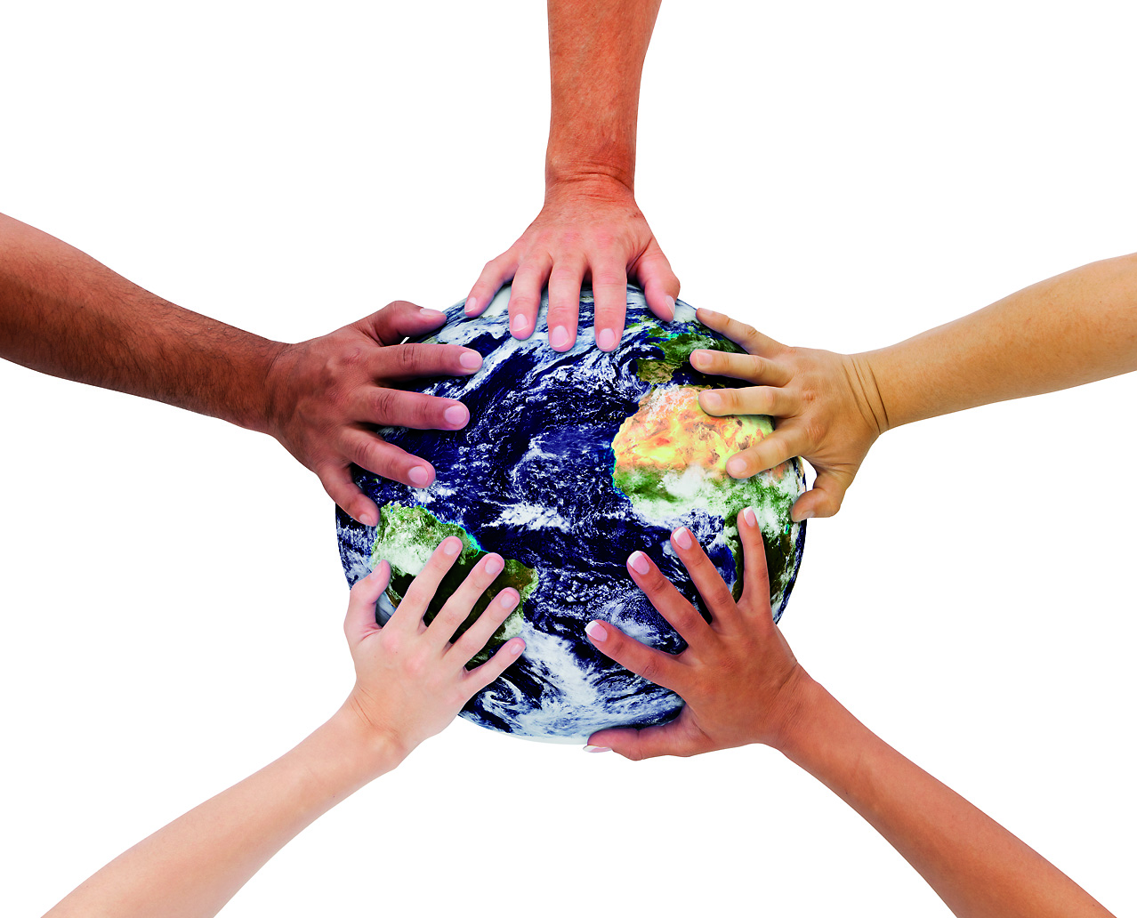 different hands holding the earth